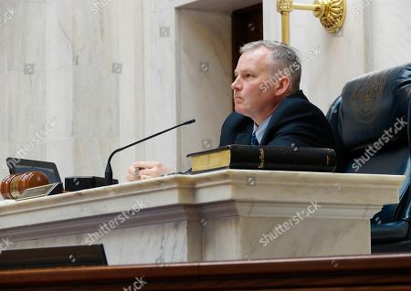 Arkansas Lt. Gov. Tim Griffin presides over the state Senate at the Capitol in Little Rock, as the Legislature completed work on its 2017 regular session. Lawmakers were scheduled to meet later Monday and open a special session dedicated largely to Medicaid issues