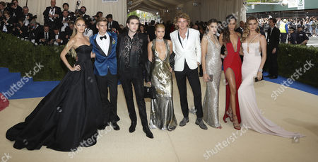 Candice Swanepoel (L) Presley Gerber (2L) Gabriel-Kane Day Lewis (3L) Sofia Richie (4L) Jordan Kale Barrett (4R) Chloe Bennet (3R) Joan Smalls (2R) and Behati Prinsloo (R) arrive on the red carpet for the Metropolitan Museum of Art Costume Institute's benefit celebrating the opening of the exhibit 'Rei Kawakubo/Comme des GarÂ?ons: Art of the In-Between' in New York, New York, USA, 01 May 2017. The exhibit will be on view at the Metropolitan Museum of ArtÕs Costume Institute from 04 May to 04 September 2017.