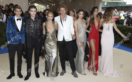 Stock Image of Presley Gerber (L) Gabriel-Kane Day Lewis (2L) Sofia Richie (3L) Jordan Kale Barrett (C) Chloe Bennet (3R) Joan Smalls (2R) and Behati Prinsloo (R) arrive on the red carpet for the Metropolitan Museum of Art Costume Institute's benefit celebrating the opening of the exhibit 'Rei Kawakubo/Comme des GarÂ?ons: Art of the In-Between' in New York, New York, USA, 01 May 2017. The exhibit will be on view at the Metropolitan Museum of ArtÕs Costume Institute from 04 May to 04 September 2017.