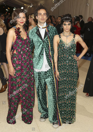 Maggie Gyllenhaal (L) Francesco Risso (C) and Sofia Boutella (R) arrive on the red carpet for the Metropolitan Museum of Art Costume Institute's benefit celebrating the opening of the exhibit 'Rei Kawakubo/Comme des GarÂ?cons: Art of the In-Between' in New York, New York, USA, 01 May 2017. The exhibit will be on view at the Metropolitan Museum of Art's Costume Institute from 04 May to 04 September 2017.