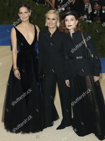 Rachele Regini, Maria Grazia Chiuri and Isabelle Huppert