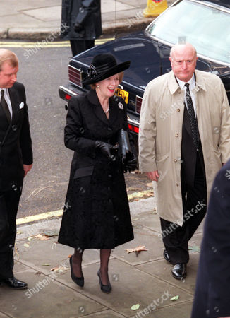Lady (margaret) Thatcher Former P.m. Arriving At St. Johns Church Smith Square This Morning For A Memorial Service For The Late Sir James Goldsmith.