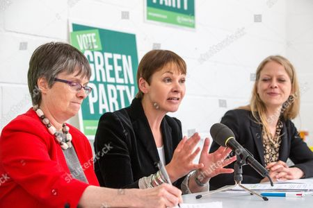 Caroline Lucas, Green Party Joint Leader,announces the new Green Party Brexit policy with Molly Scott Cato,Bristol West candidate(Left) and Green party London assembly member, Sian Berry