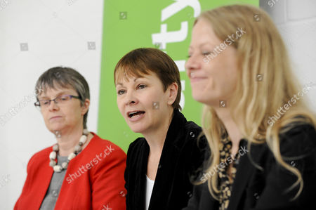 (L to R) Molly Scott Cato, MEP and Green party candidate for Britsol West, Caroline Lucas MP, Co-Leader of the Green Party, and Sian Berry, Green London Assembly Member at the Green Party launch of their Brexit policy in Hackney.