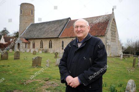 Reverand John Buchanan from the Church of the Most Holy Trinity in Barsham, Suffolk . Church of the Most Holy Trinity, Barsham, Suffolk, England, Britain.