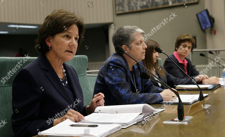 Monica Lozano, left, chair o fthe University of California Board of Regents, discusses the findings of a state audit concerning the office of UC President Janet Napolitano, second from left, during a hearing of the Joint Legislative Audit Committee,in Sacramento, Calif. Lawmakers where looking into the audit, conducted by the office of State Auditor Elaine Howle, right, that found that UC administrators hid $175 million from the public while the university system raised tuition and asked lawmakers for more money. Napolitano has disputed the audit's findings