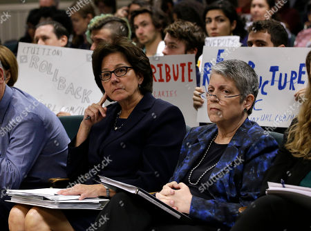 Monica Lozano, Janet Napolitano Monica Lozano, left, chair of the University of California Board of Regents, and UC President Janet Napolitano, sit in the audience before appearing before the Joint Legislative Audit Committee, in Sacramento, Calif. Lawmakers where looking into an audit, conducted by the office of State Auditor Elaine Howle, that found that UC administrators hid $175 million from the public while the university system raised tuition and asked lawmakers for more money. Napolitano has disputed the audit's findings