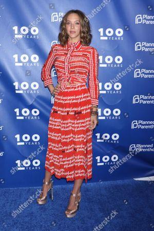 Zoe Buckman, wearing a Gucci dress