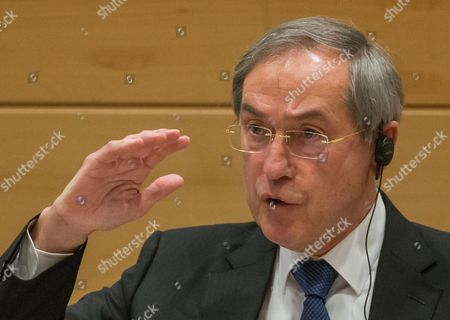 Former French Interior Minister Claude Gueant under Nicolas Sarkozy Presidency gestures during a parliamentary inquiry into the circumstances leading up to the adoption and application of the Law of 14 April 2011 on the criminal proceedings 'Kazakhgate' in Brussels, Belgium, 03 May 2017.