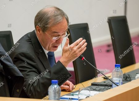 Former French Interior Minister Claude Gueant (under Nicolas Sarkozy's Presidency) gestures during a parliamentary inquiry into the circumstances leading up to the adoption and application of the Law of 14 April 2011 on the criminal proceedings 'Kazakhgate' in Brussels, Belgium, 03 May 2017.