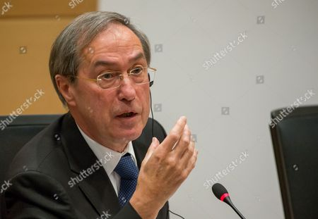 Stock Photo of Former French Interior Minister Claude Gueant (under Nicolas Sarkozy's Presidency) gestures during a parliamentary inquiry into the circumstances leading up to the adoption and application of the Law of 14 April 2011 on the criminal proceedings 'Kazakhgate' in Brussels, Belgium, 03 May 2017.