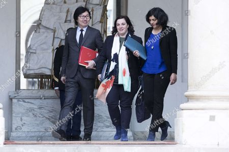 Stock Picture of French Junior Minister for State Reform and Simplification Jean-Vincent Place (L), French Housing Minister Emmanuelle Cosse (C), and French Labour Minister Myriam El Khomri leave after the weekly cabinet meeting