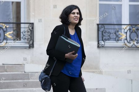 French Labour Minister Myriam El Khomri leaves after the weekly cabinet meeting