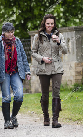 Stock Picture of Clare Morpurgo and Catherine Duchess of Cambridge at Wick Court Farm in Arlington