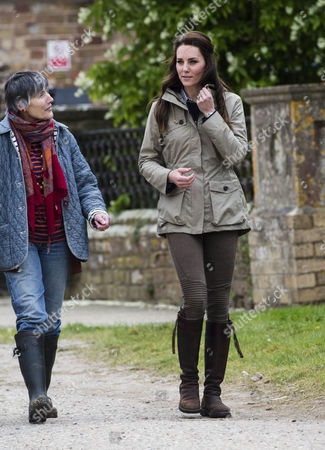 Stock Image of Clare Morpurgo and Catherine Duchess of Cambridge at Wick Court Farm in Arlington