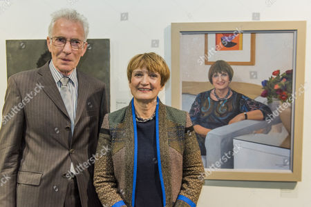 Baroness Tessa Jowell with her portrait by David Newens (both pictured)