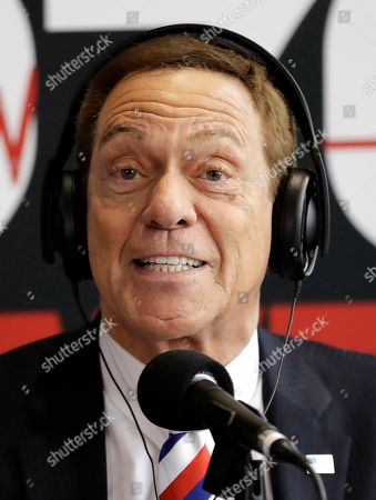 """Former """"Saturday Night Live"""" comedian and Joe Piscopo hosts his morning show during his Radio Business Breakfast at Bergen County College, in Paramus, N.J. During the event, Piscopo announced he will not be launching an independent campaign to succeed Republican Gov. Chris Christie. Piscopo also announced he will endorse New Jersey Lt. Gov. Kim Guadagno during her bid in the primary elections for gubernatorial race"""