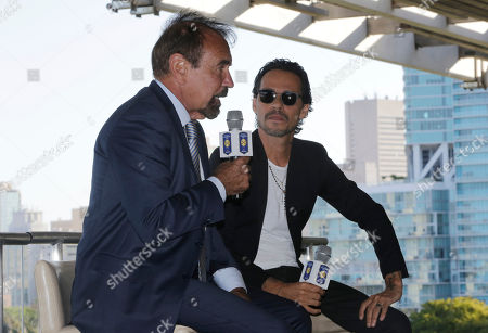 Marc Anthony, Jorge Perez Musician Marc Anthony, right, listens during a news conference, in Miami. Anthony will perform in the halftime show of the International Champions Cup soccer match of El Clasico Miami between Real Madrid C.F. and FC Barcelona on July 29 at Hard Rock Stadium in Miami Gardens, Fla. At left is Related Group Miami CEO & Co-Founder Jorge Perez, who is an ambassador for El Clasico Miami