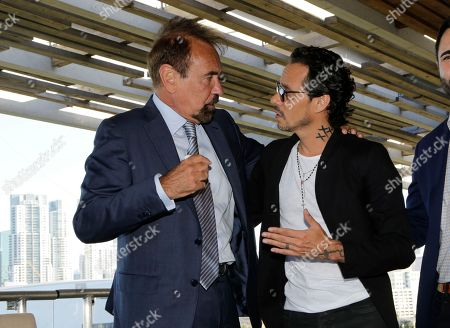 Marc Anthony, Jorge Perez Related Group Miami CEO & Co-Founder Jorge Perez, left, talks with musician Marc Anthony during a news conference, in Miami. Anthony will perform in the halftime show of the International Champions Cup soccer match of El Clasico Miami between Real Madrid C.F. and FC Barcelona on July 29 at Hard Rock Stadium in Miami Gardens, Fla. Perez is an ambassador for El Clasico Miami
