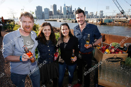 Paul van der Aar, Mary Mattingly, Jessica Robinson, Sam Talbot From left, Heineken Director of Quality Paul van der Aar, Swale visionary Mary Mattingly, Strongbow Vice President of Marketing Jessica Robinson and chef Sam Talbot toast New York's first floating food forest at a garden party celebrating the partnership between Strongbow Hard Apple Ciders and Swale, in New York