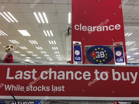 A clearance sale of gb eu car bumper stickers at a halfords car parts store in