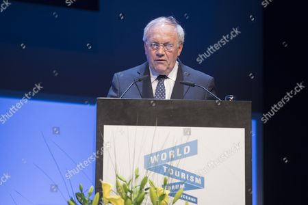 The Swiss Federal Councillor Johann Schneider-Ammann during the opening session of the World Tourism Forum, at the Culture and Convention Centre in Lucerne, Switzerland, on 04 May 2017.