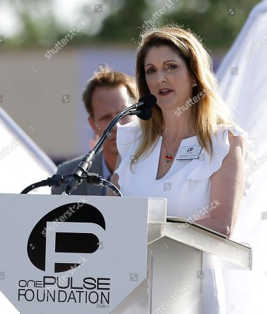 Pulse nightclub owner Barbara Poma speaks at a news conference announcing plans for a memorial at the site, in Orlando, Fla. Poma says the site will become a memorial and a museum to honor the 49 people who were killed and the dozens more who were injured during the worst mass shooting in modern U.S. history