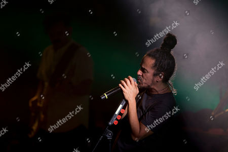 """Lead singer Ruben Albarran of the Mexican rock band Cafe Tacuba performs during a media event promoting their new album """"Jei Beibi,"""" in Mexico City, . Cafe Tacuba is embracing its newfound independence with the release of the Mexican rock band's first album without a label in its nearly three-decade career. """"Jei Beibi"""" will be released on May 5, 2017"""