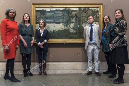 Stock Image of L - R, Blondell Cluff, Chair of the London Committee, Heritage Lottery Fund, Rachael Browning, Acting Head of Programmes, Art Fund, Alison Smith, Curator, Tate Britain, Alex Farquharson, Director Tate Britain, Lady Hintze, Hintze Family Foundation Dorothee Irving, Head of Grants, John Ellerman Foundation
