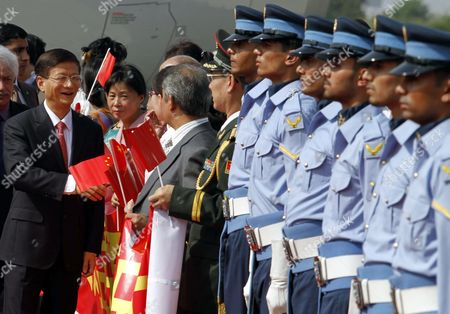 China's Public Security Minister Meng Jianzhu (l) Inspects a Guard of Honour Upon His Arrival Arrival at Chaklala Airbase in Rawalpindi Pakistan 26 September 2011 Meng Jianzhu Arrived in Islamabad on 26 September to Discuss Issues of Mutual Interest and Regional Security with the Pakistani Leadership Pakistan Rawalpindi