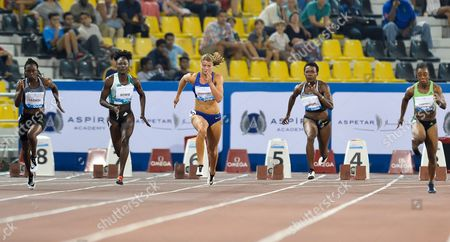 (l-r) Jeneba Tarmoh of Usa Tori Bowie of Usa Dafne Schippers of the Netherlands Murielle Ahoure of Ivory Coast and Veronica Campbell-brown of Jamaica Compete in the Women's 100m Race During the Iaaf Diamond League Meeting in Doha Qatar 06 May 2016 Qatar Doha