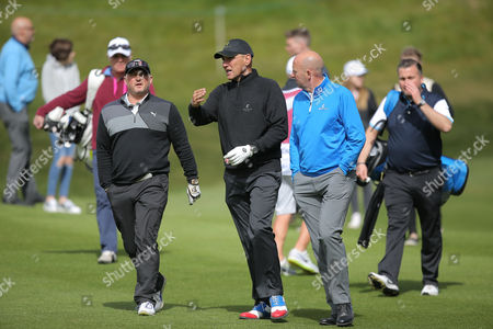 Darren Gough , Vinney Jones and Gary McAllister    during the GolfSixes European Tour 2017 Pro-Am at the Centurion Club , St Albans  on 5th May 2017