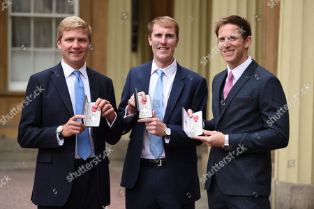 Stock Picture of Left to right rowers Constantine Louloudis, George Nash and Matt Langridge with their MBE's after the investiture service at Buckingham Palace