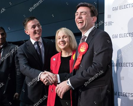 Sean Anstee, Jane Brophy and Andy Burnham on the stage at the declaration.