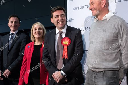 Sean Anstee, Jane Brophy and Andy Burnham take to the stage at the declaration. The count for council and Metro Mayor elections in Greater Manchester at the Manchester Central Convention Centre.