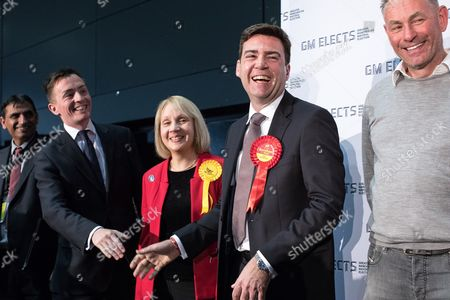 Sean Anstee, Jane Brophy and Andy Burnham on the stage at the declaration. The count for council and Metro Mayor elections in Greater Manchester at the Manchester Central Convention Centre.