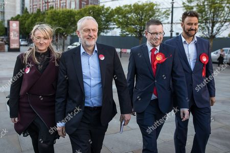 Rebecca Long Bailey, Labour Party Leader Jeremy Corbyn, Andrew Gwynne and Afzal Khan arrive in Manchester following Andy Burnham's victory in the Manchester Metro mayoralty campaign