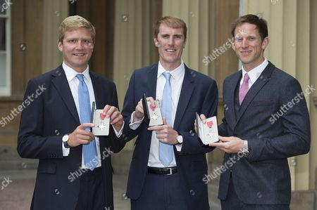 Olympic rowers Constantine Louloudis, MBE, George Nash MBE and Matthew Langdridge MBE