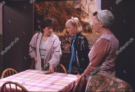 Stock Photo of Brenda Elder (as Elsie Seddon), Sally Dynevor (as Sally Webster) and Jean Alexander (as Hilda Ogden)
