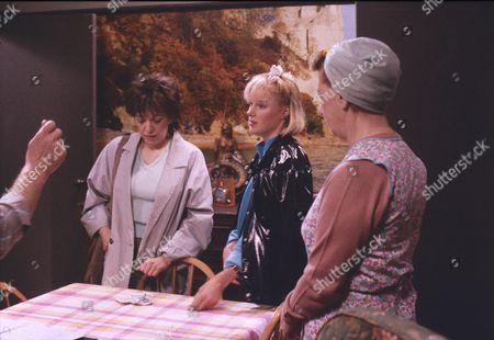 Stock Image of Brenda Elder (as Elsie Seddon), Sally Dynevor (as Sally Webster) andJean Alexander (as Hilda Ogden)