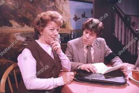 Jean Alexander (as Hilda Ogden) and Peter Faulkner (as Tony Arrowsmith)