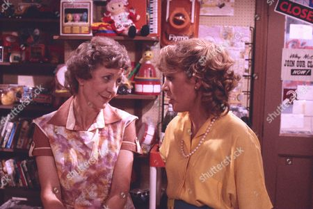Thelma Barlow (as Mavis Riley) and Wendy Jane Walker (as Susan Barlow)
