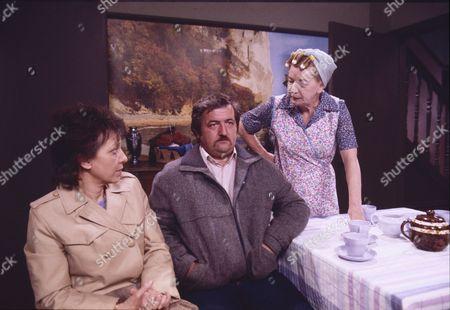 Brenda Elder (as Elsie Seddon), James Duggan (as Eddie Seddon) and Jean Alexander (as Hilda Ogden)