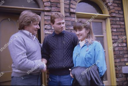 Stock Image of William Roache (as Ken Barlow), David Lonsdale (as Peter Barlow) and Christina Barryk (as Jessica Midgely)