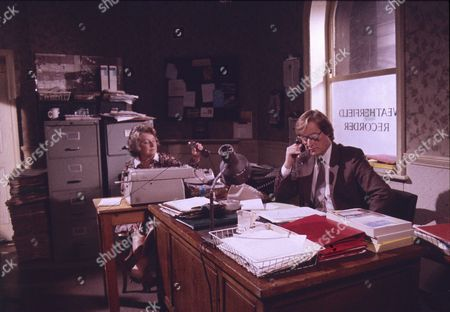 Stock Photo of Hope Johnstone (as Janet Bamford) and William Roache (as Ken Barlow)