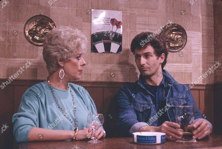 Julie Goodyear (as Bet Lynch) and Ray Ashcroft (as Steve Holt)
