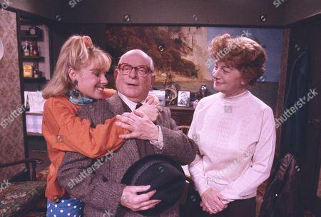 Sally Dynevor (as Sally Webster), Len Marten (as Tom Hopwood) and Jean Alexander (as Hilda Ogden).
