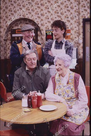 Bill Waddington (as Percy Sugden), Sean Wilson (as Martin Platt), Tom Mennard (as Sam Tindall) and Jill Summers (as Phyllis Pearce)