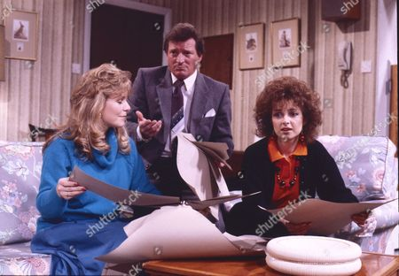 Wendy Jane Walker (as Susan Barlow), Johnny Briggs (as Mike Baldwin) and Jane Jermyn (as Cheryl Crossley)