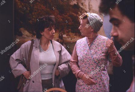 Brenda Elder (as Elsie Seddon), Jean Alexander (as Hilda Ogden) and Michael Le Vell (as Kevin Webster)